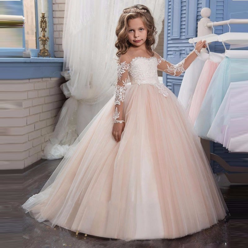2017 Romantic Champagne Puffy Lace Flower Girl Dresses FL001