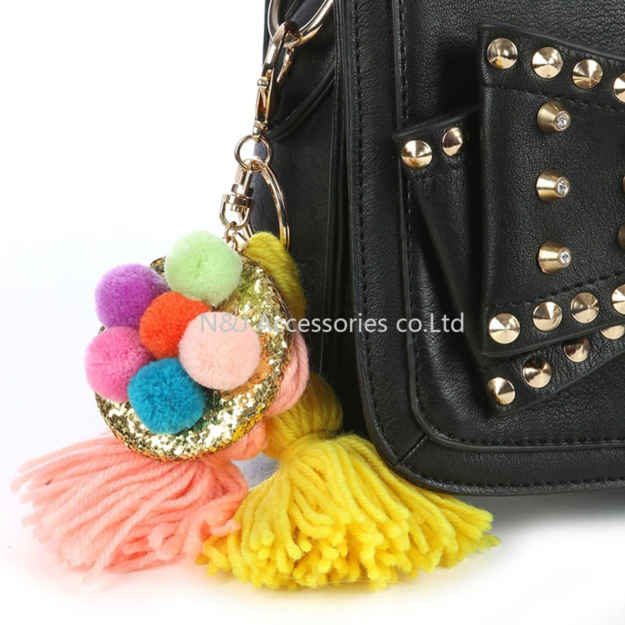 Hot Key Chain Poms Pendant Fashion Keychains Tassels Keyrings Accessories Women Bag Charm Trinket