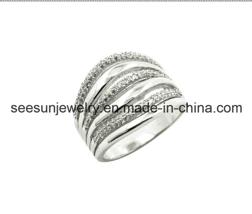 Fashion Sterling Silver Ring with White CZ