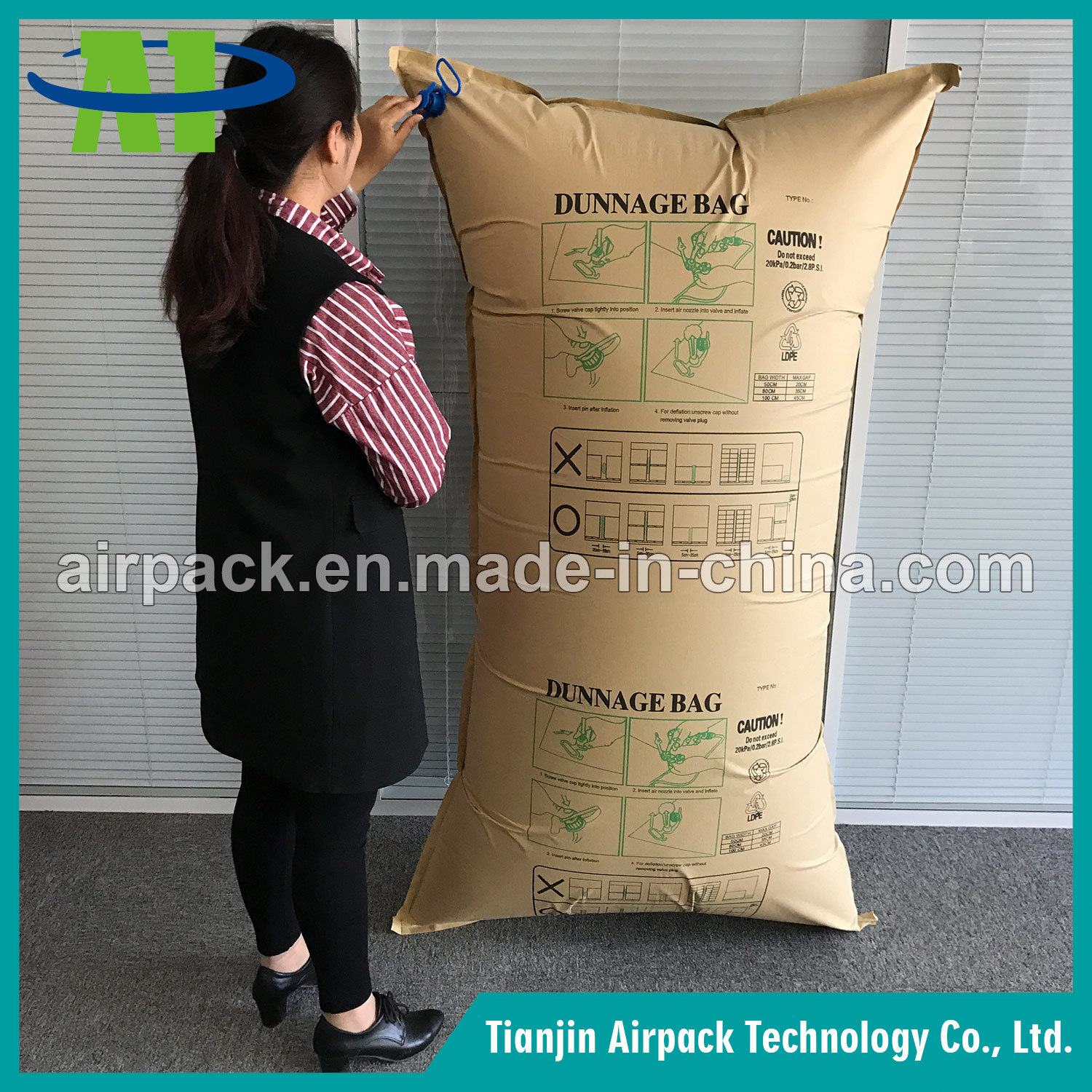 Avoid Products Damage Kraft Paper Air Dunnage Bag