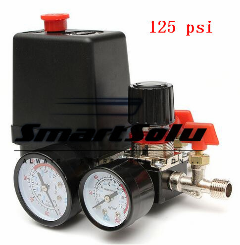 125 Psi 1 Port Air Compressor Pressure Valve Switch Manifold Relief Regulator Gauges 240V 16 X 10.5 X 13cm