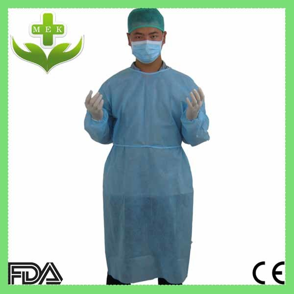 Hubei MEK Medical PP Nonwoven Isolation Gown with Ce ISO