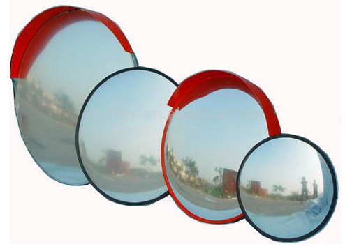 Indoor and Outdoor Unbreakable Orange Traffic Acrylic Convex Mirror