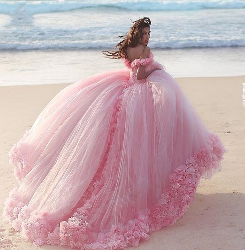 Pink Tulle Bridal Ball Gown Puffy Flowers Wedding Dress HD41
