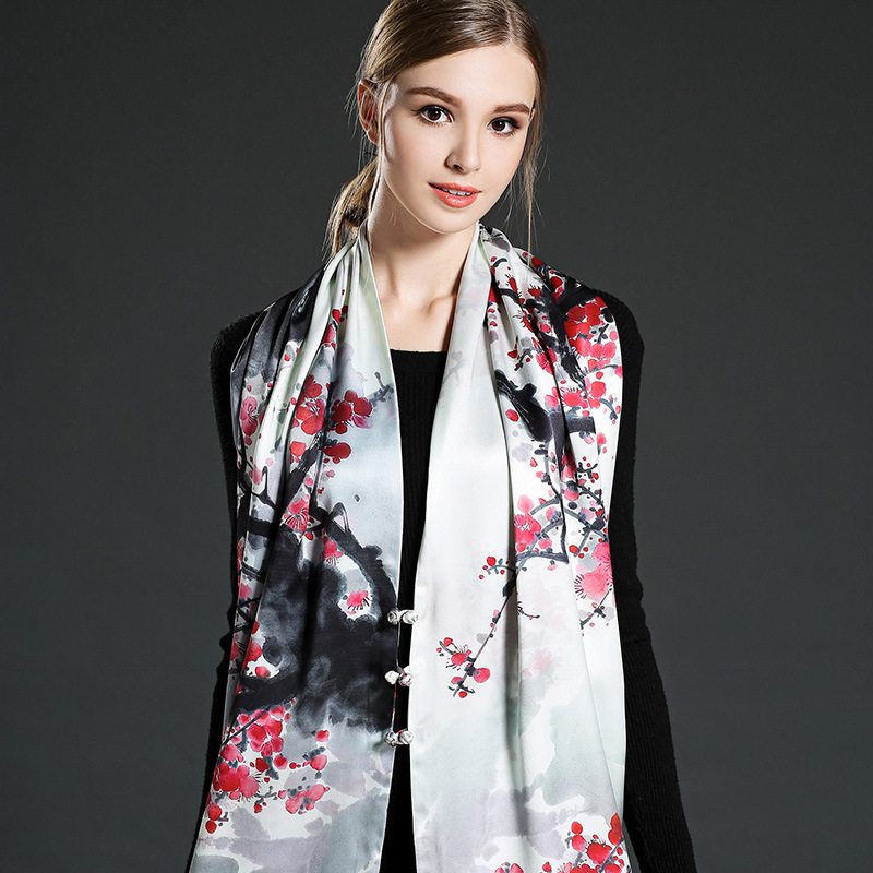Plum Blossom Design Digital Printing Scarf Shawl with Buttons