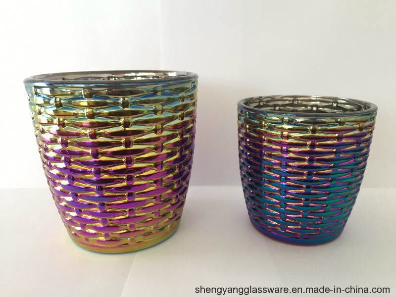 Factory Directly Provide Colorful Ion Plating Glass Candle Holders for Home Decor