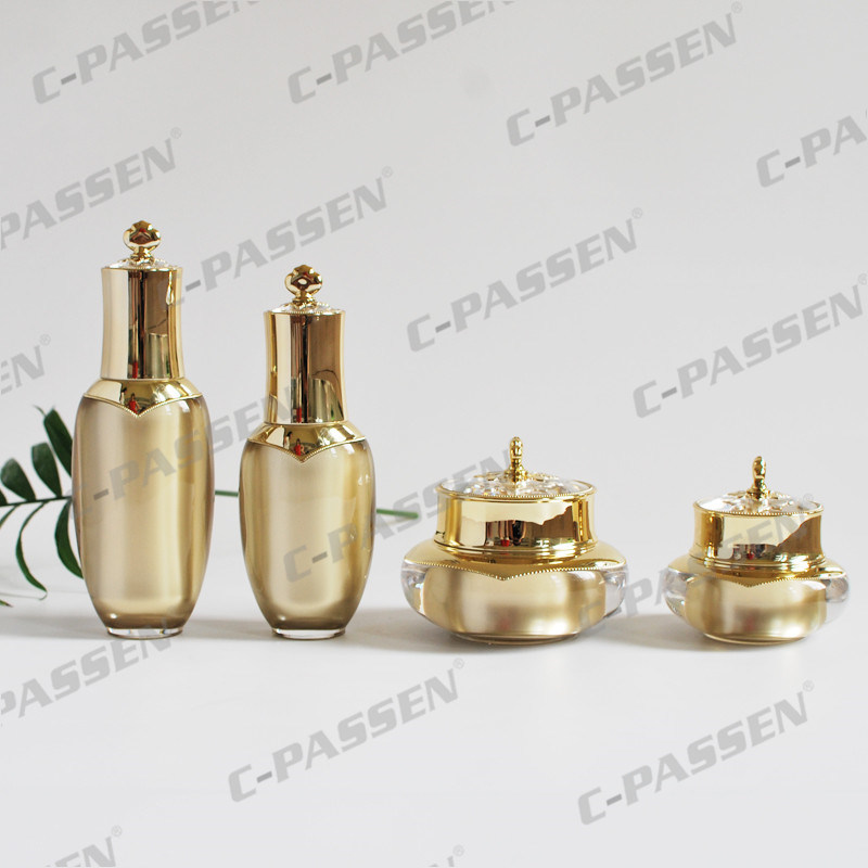 Luxury Gold Crown Series Acrylic Bottles and Jars for Cosmetic Packaging (PPC-NEW-004)