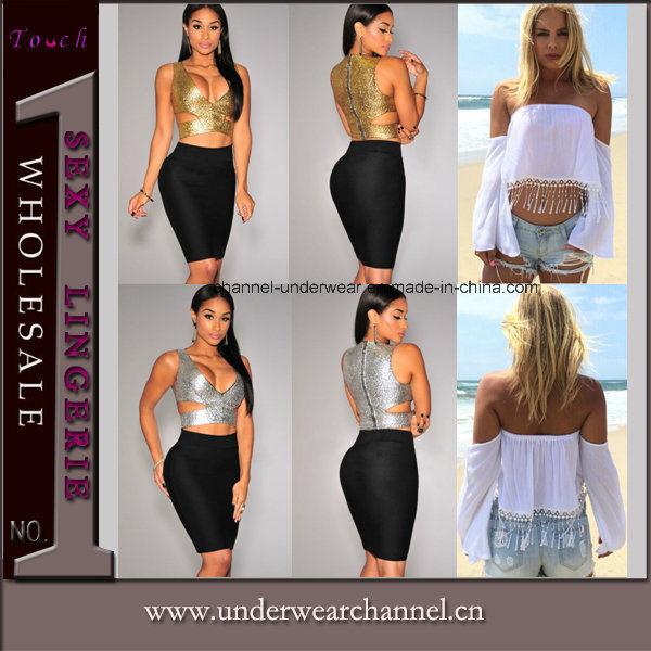 Sexy Women Lady Sleeveless Pleated Skirt Vest Tank Tops (T25558)