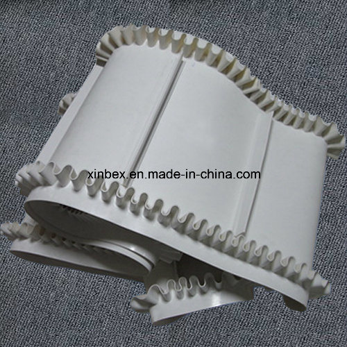 PU FDA Blue/White Sidewall Cleats Food Factory Incline Conveyor Belt