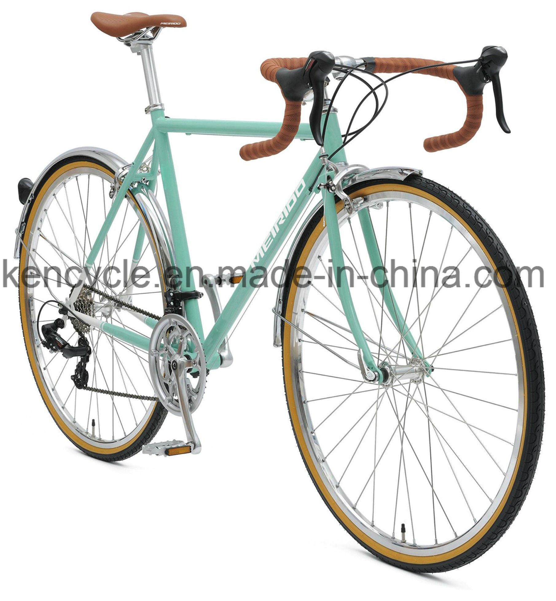 700c 14 Speed Cr-Mo Steel Fixed Gear Bike /Utility Road Bike for Adult Bike and Student/Cyclocross Bike/Road Racing Bike/Lifestyle Bike