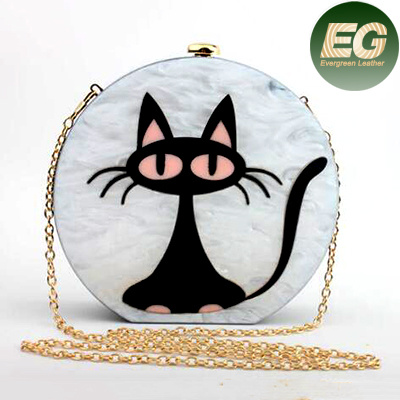 New Design Acrylic White Evening Bag with Black Cat Clutch Purses Handbag Round Shape Eb843