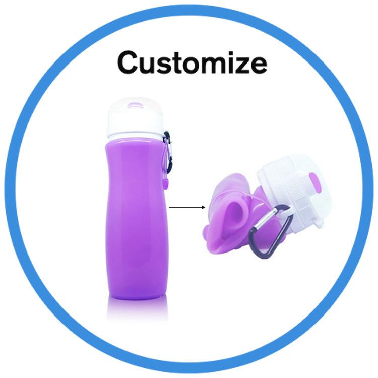 Custom Silicone Plastic Foldable Sport Water Bottle