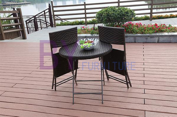 Outdoor Folding PE Rattan Leisure Coffee Tables and Chairs Combination Set
