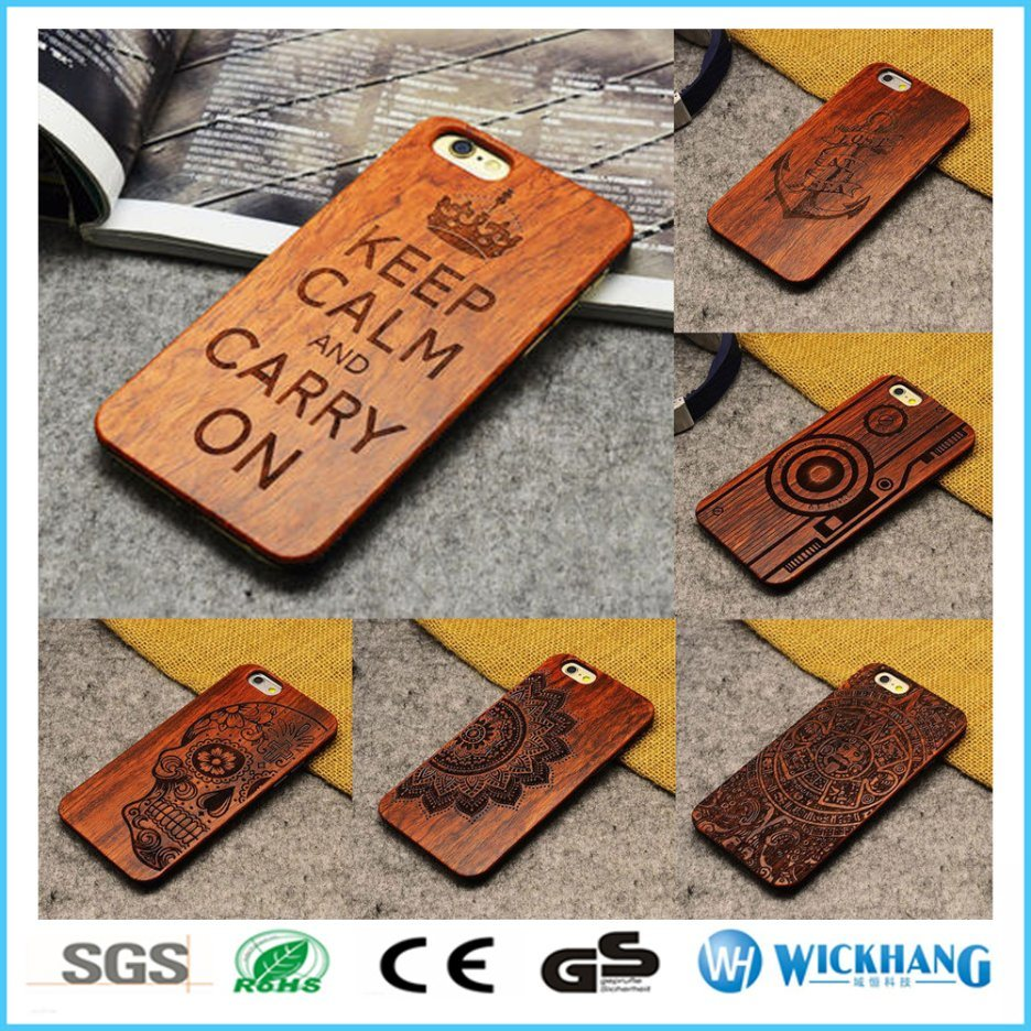 Real Natural Carved Wood Hard Phone Case