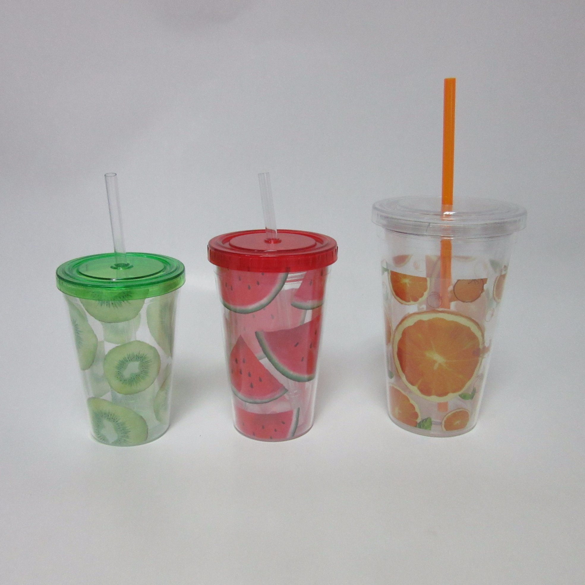 Plastic Double Wall Cup with Straw Fruit Design