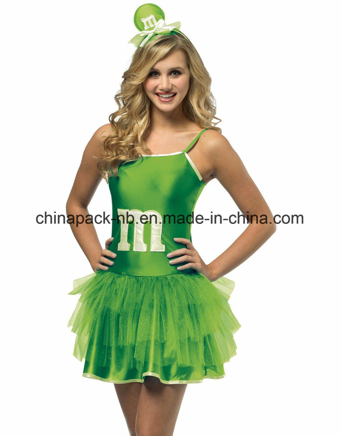 Mini Vestido M&M Sassy Verde Tutú Adolescente Niñ as Disfraz Adolescente (CPGC7003X)