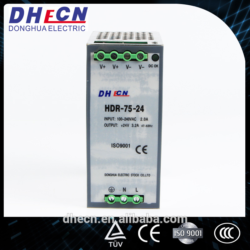 HDR-75, 75W DIN Rail Switching Power Supply 85-264VAC to 24VDC, 3.2A