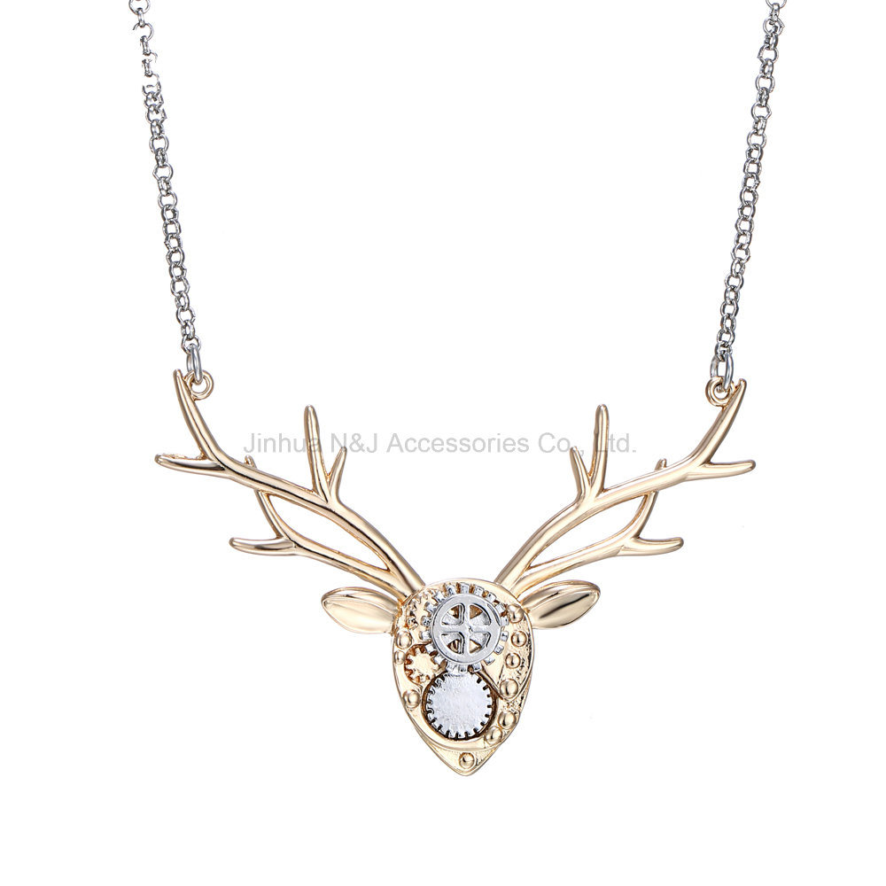 Fashion Image Deer Jewelry Necklace Copper Animal Choker Necklaces Mechanical Design Deer Head Accessories Women Spring Gifts