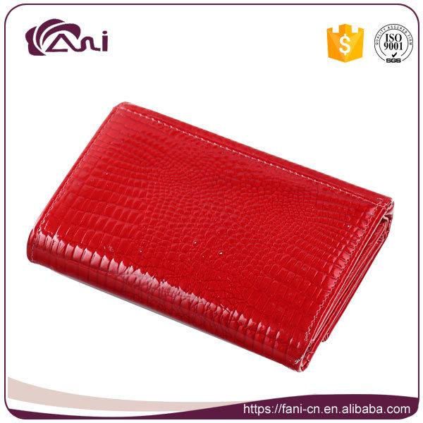 Red Color Small Women Crocodile Grain Genuine Leather Wallet