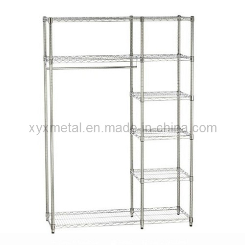Rolling Garment 4-Tier Chrome Steel Clothes Wire Shelf
