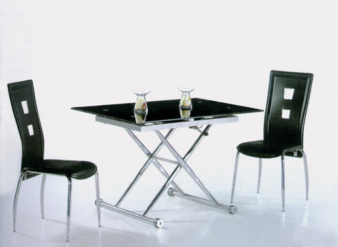 China up down glass dining table china modern glass for Table up down extensible
