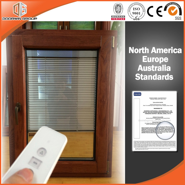 America Style Casement Wood Aluminum Window with Integral Shutters