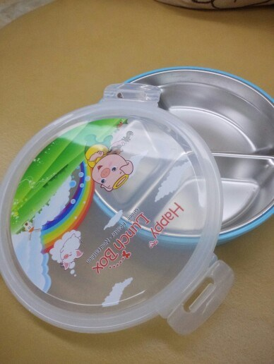 304/18-8 Stainless Steel Divided Tray Round Lunchbox