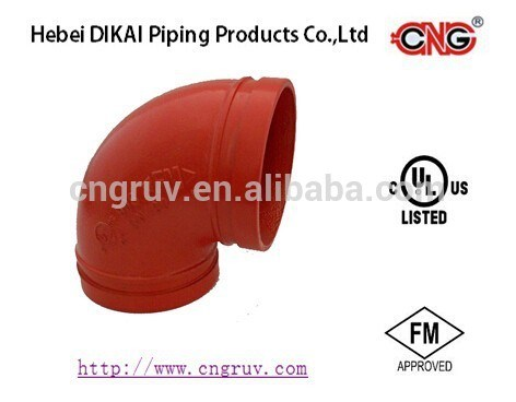 FM /UL Approved 90 Degree Elbow Grooved Pipe Fittings Ductile Iron Pipe Fitting