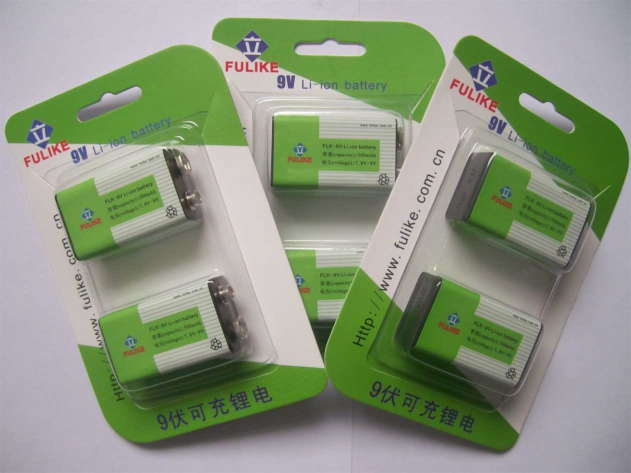 Lithium ion battery 9v rechargeable