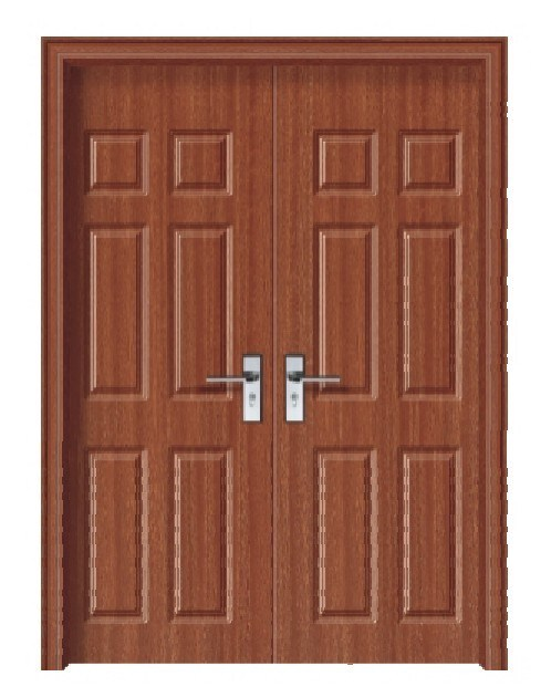 Double solid wood door d 1002 china solid wood door for Double door wooden door