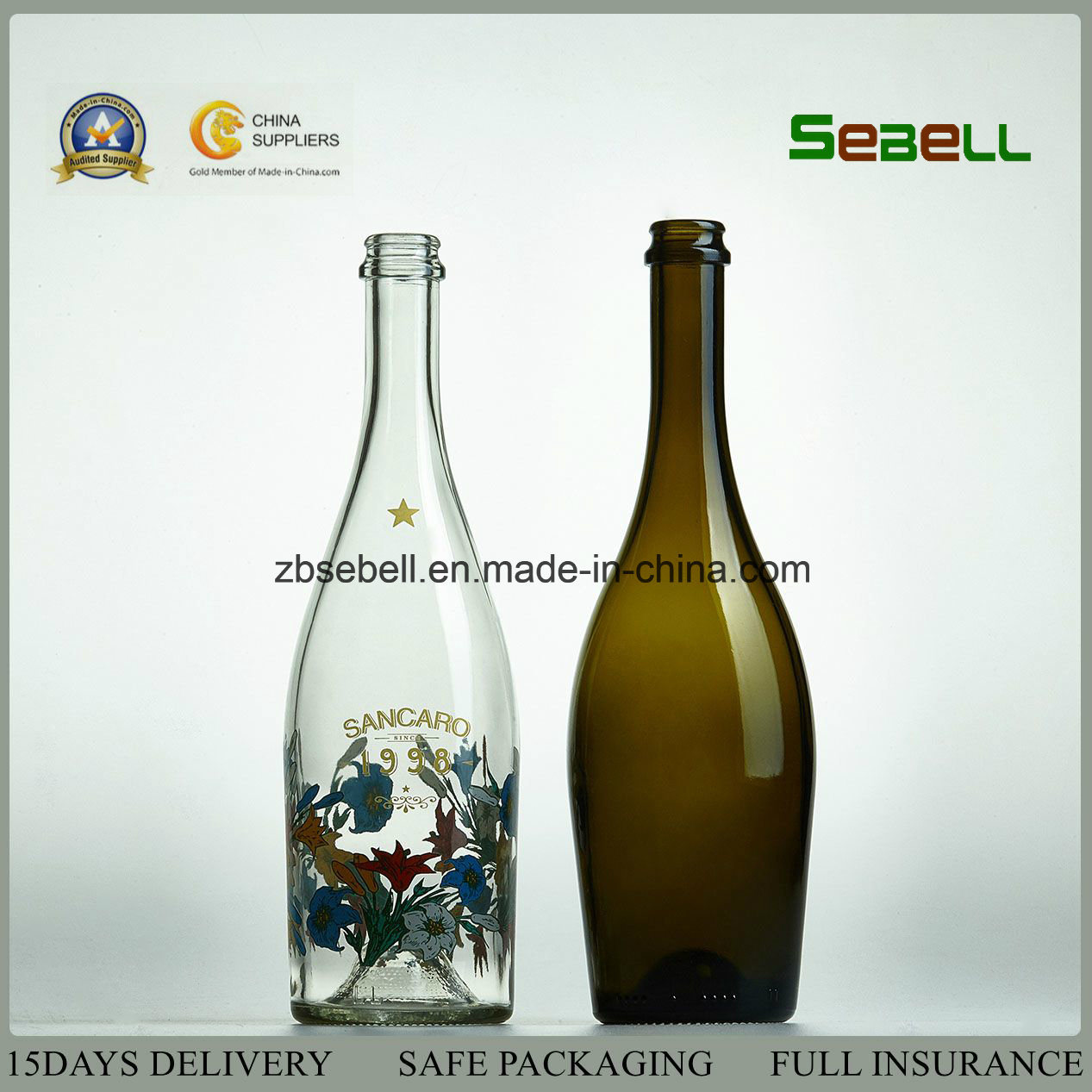 750ml High Quality Glass Champagne Bottle Made in China (NA-012)