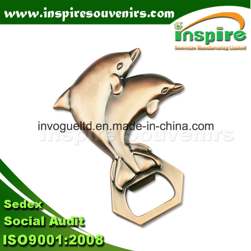 Double Dolphin Beer Opener with Fridge Magnet