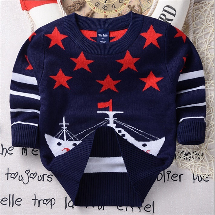 T1202 2015 Autumn Korean Style Pullover Sweater Kids Wear Pure Cotton Double-Layer Boys Baby Knitted Shirt Children Garment for Wholesale