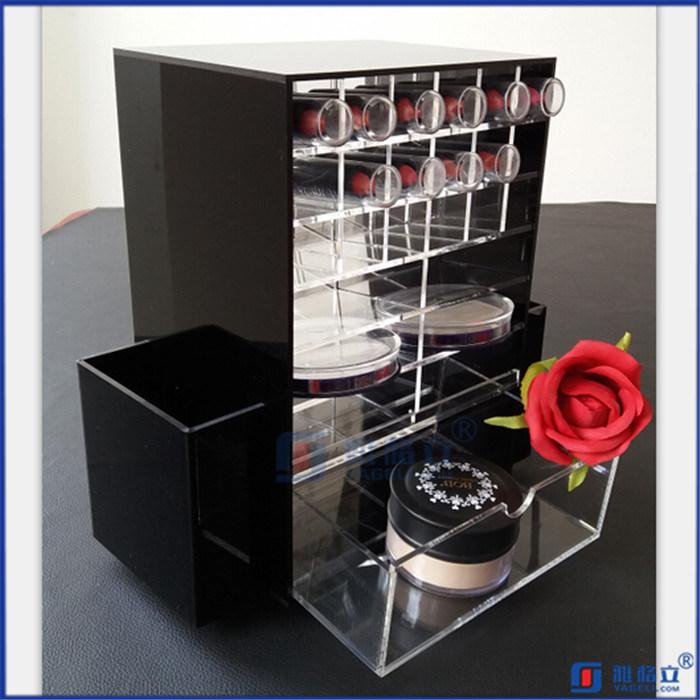Black Rotating Customerized Acrylic Lipstick Holder with Logo