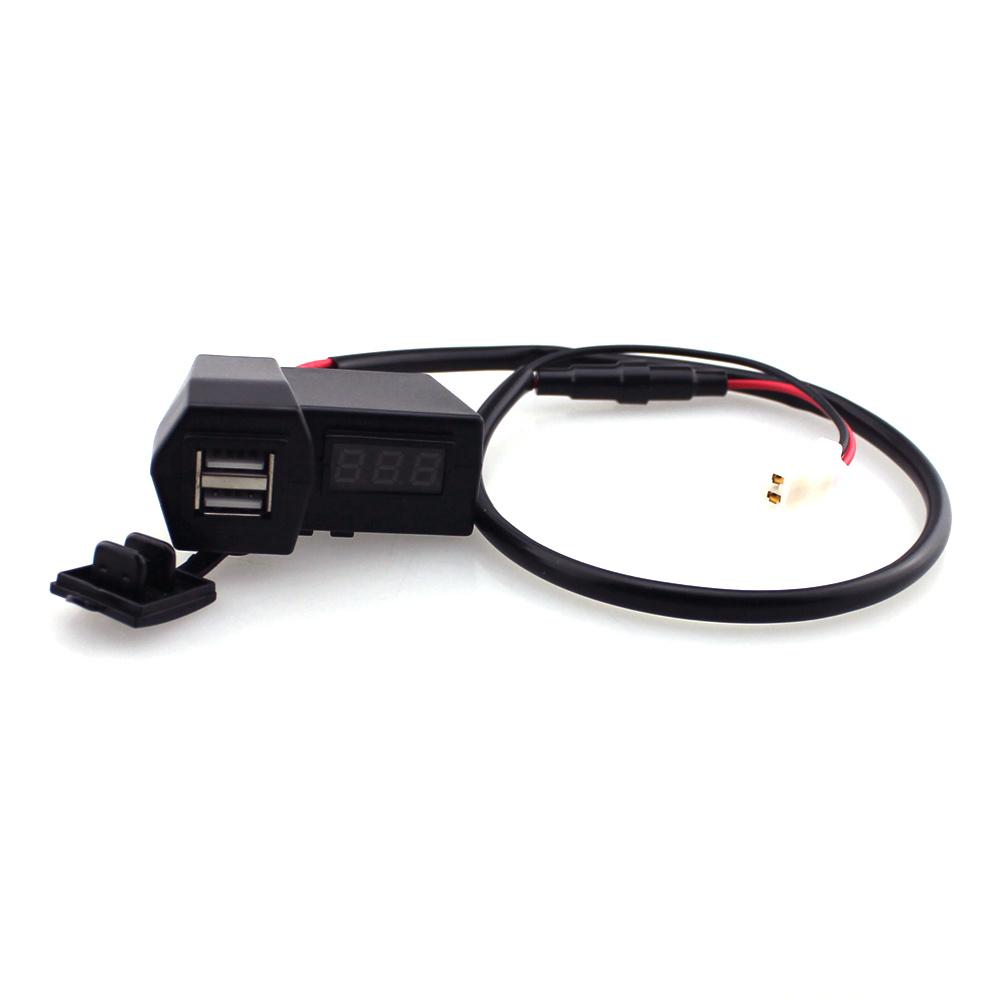 12-24V Car Motorcycle Digital Voltmeter Dual USB Charger LED Display