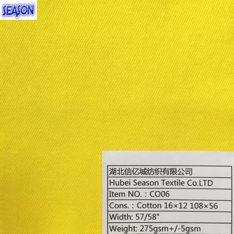 Cotton 16*12 108*56 275GSM Dyed Twill 100% Cotton Fabric Textile for Workwear