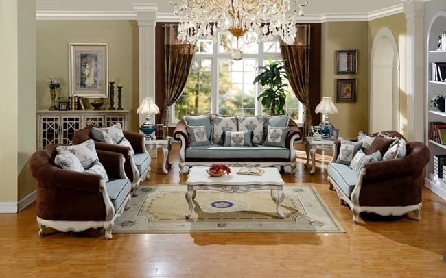 American Classical Fabric Sofa Living Room Furniture Set
