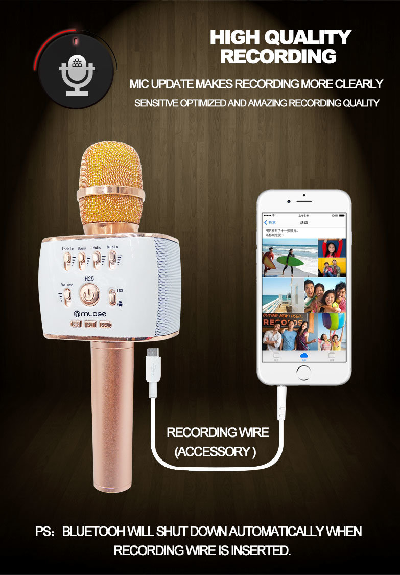 Android Karaoke Microphne Professional Microphone Handheld Wireless Bluetooth Karaoke Microphone