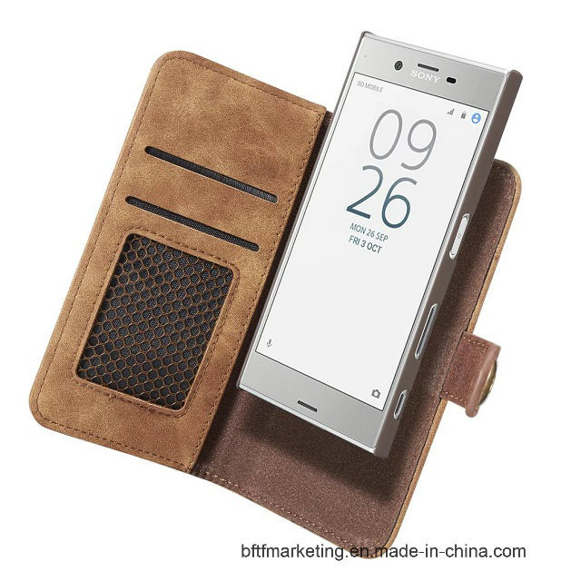 Removable 2in1 Leather Wallet Cell Phone Case for Sony Xz etc
