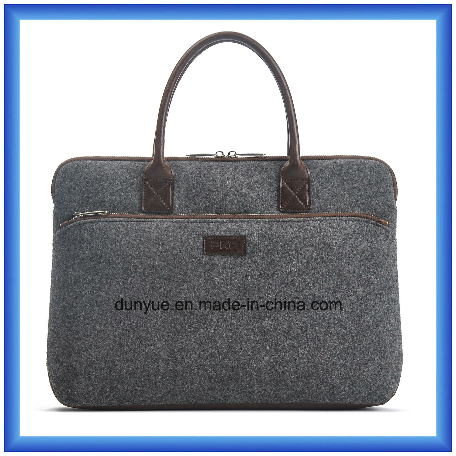 Simple Design Eco-Friendly Portable Wool Felt Laptop Handle Bag, Customized Soft Laptop Tote Hand Bag with Leather Comfortable Handle