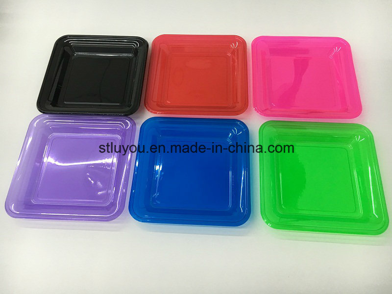 7 Inch Disposable Pet Neon Color Plastic Square Plate