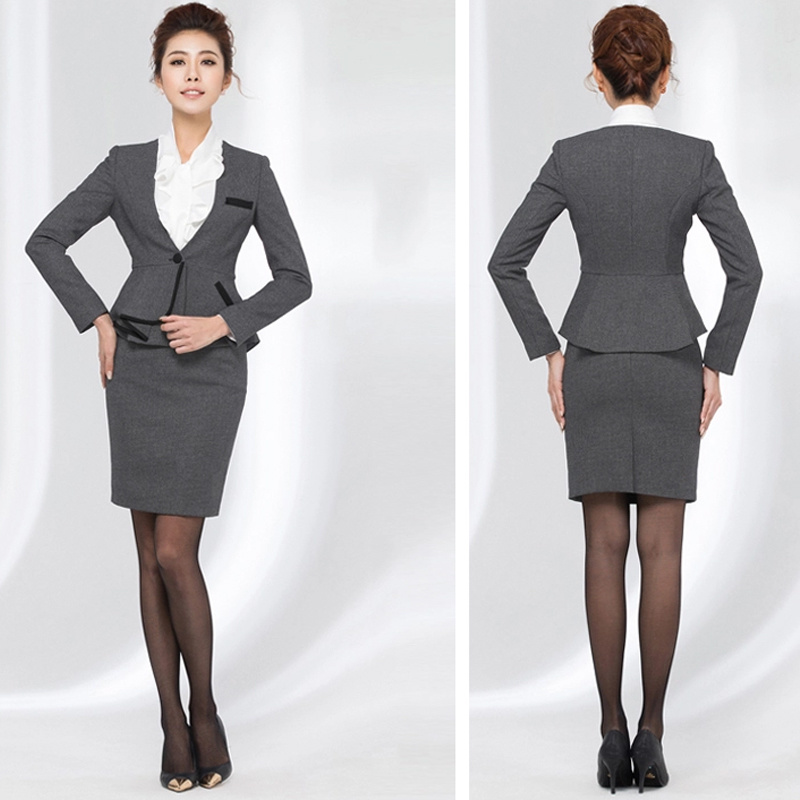 Ladies Long Sleeve Blazer and Skirt Set Women Business Suits