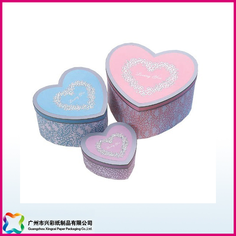 Custom Design Art Paper Empty Heart Shape Gift Box