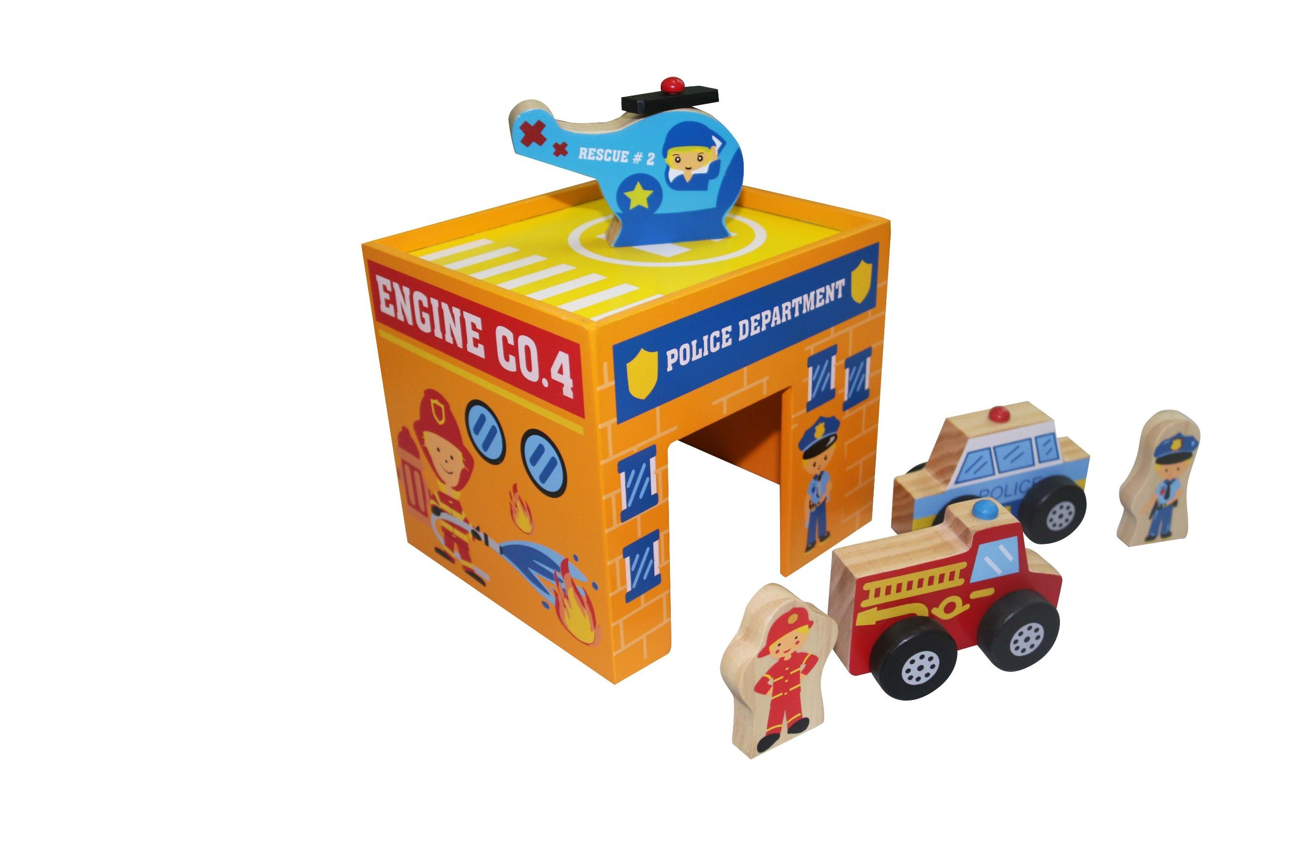 6PCS Wooden Emergency Vehicles Play Set Toy for Kids