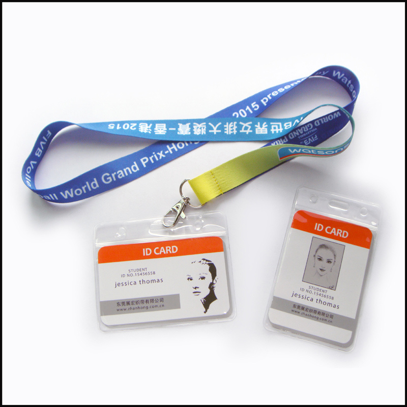 Customized Logo Plastic Name/ID Card Badge Reel Holder Custom Lanyard (NLC001)