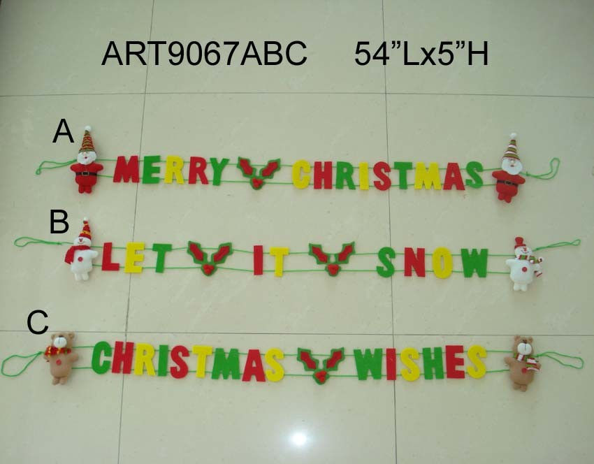 Santa Snowman Moose Christmas Decoration Wreath-3asst