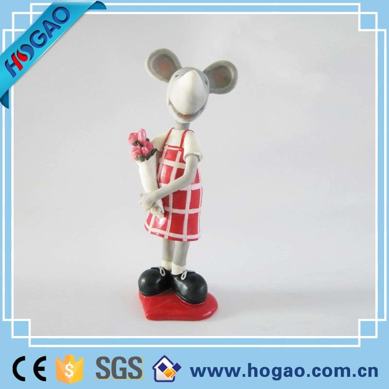 Polyresin Cartoon Wedding Love Mouse Figurine as Gifts