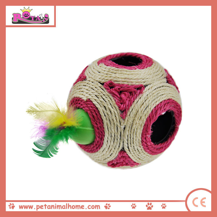 12 Cm Funny Seek and Hide Sisal Ball Cat Toy with Feather, Red