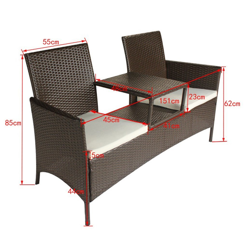 Well Furnir T-008 Patio Brown Poly Rattan Two-Seater Bench with Tea Table