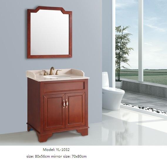 Solid Wood Cabinet Vanity with Ceramic Basin Mirror